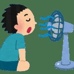 扇風機に当たる男性のイラスト