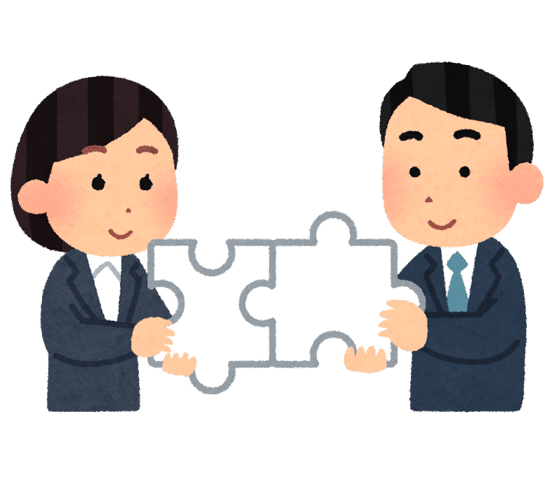 パズルを組み合わせる人たちのイラスト(ビジネス)