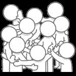 複雑な人間関係のイラスト(棒人間)