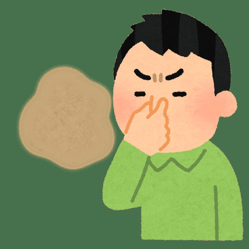 臭くて鼻をつまむ人のイラスト(男性)