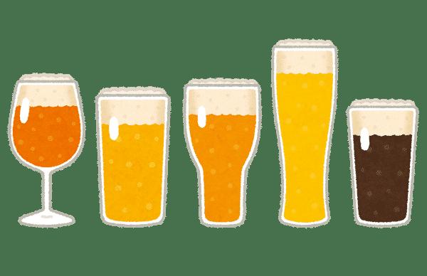 いろいろなグラスに入ったビールのイラスト