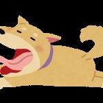 あくびをしている犬のイラスト