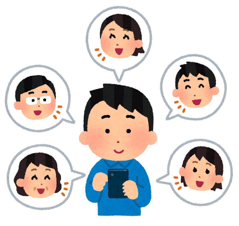SNSをやる人のイラスト(男性)