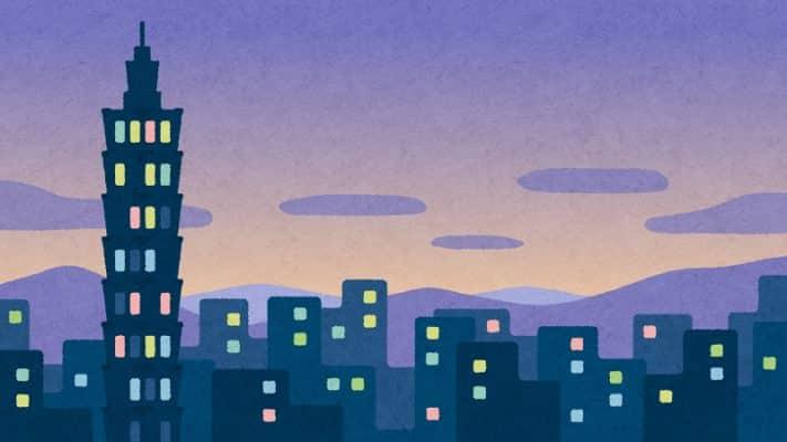 台湾の夜景のイラスト(背景素材)