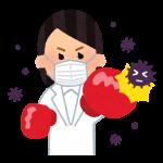 ウイルスと戦う人のイラスト(白衣の女性)