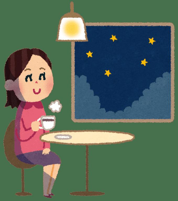 夜のカフェのイラスト