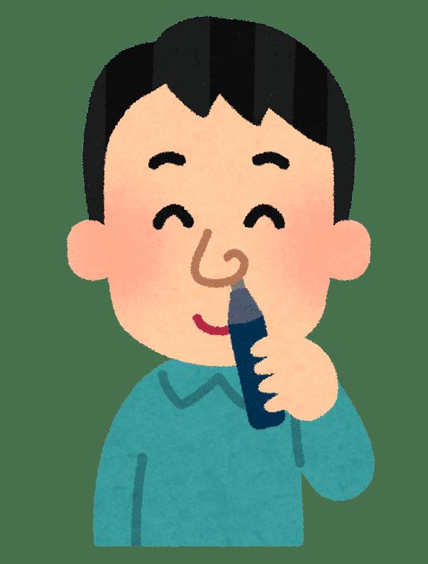 鼻毛カッターを使う人のイラスト