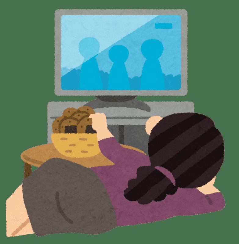 テレビを見ながらお煎餅を食べている主婦のイラスト
