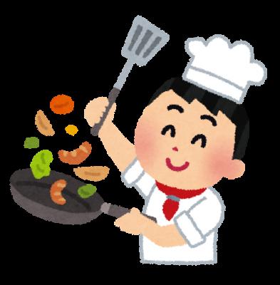 料理をするシェフ・コックさんのイラスト