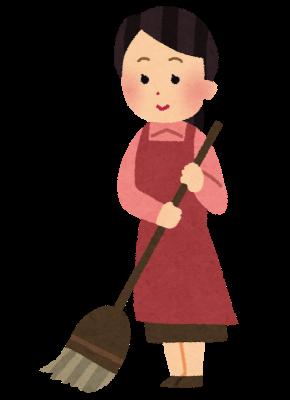 ほうきで掃除をしている女性のイラスト
