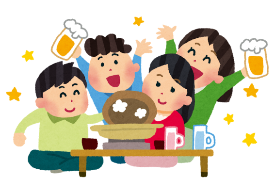 忘年会のイラスト(飲み会・鍋)