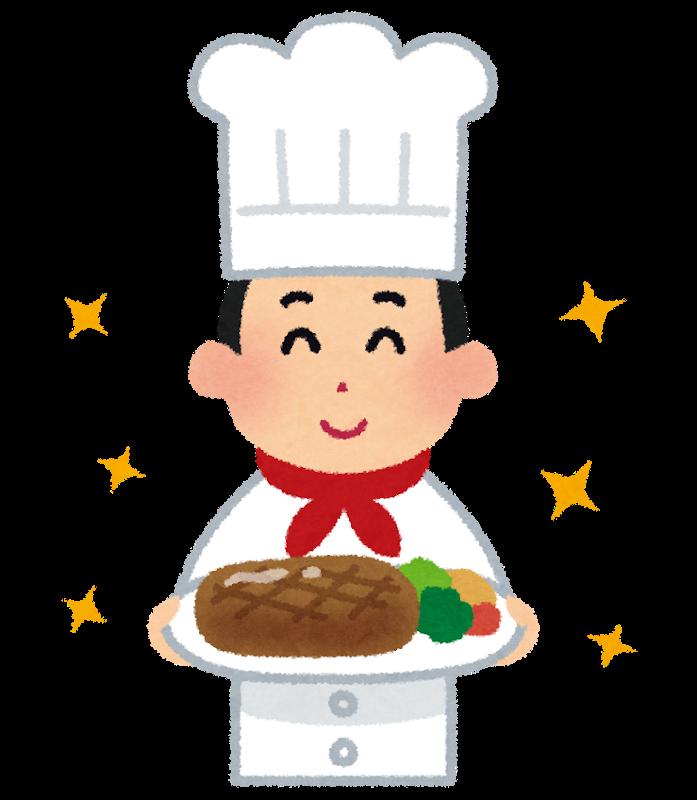 料理を差し出しているシェフのイラスト(男性)