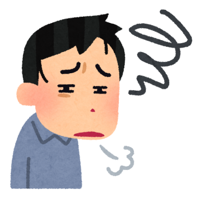 うんざりしている人のイラスト(男性)