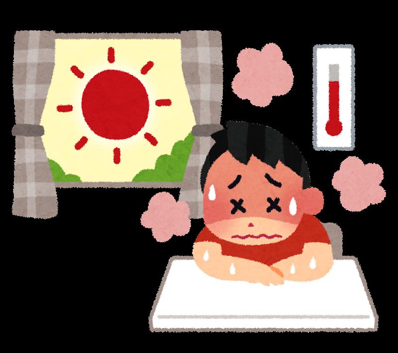 室内で熱中症になっている人のイラスト