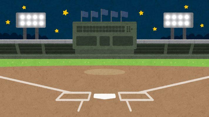 夜の野球場のイラスト(背景素材)