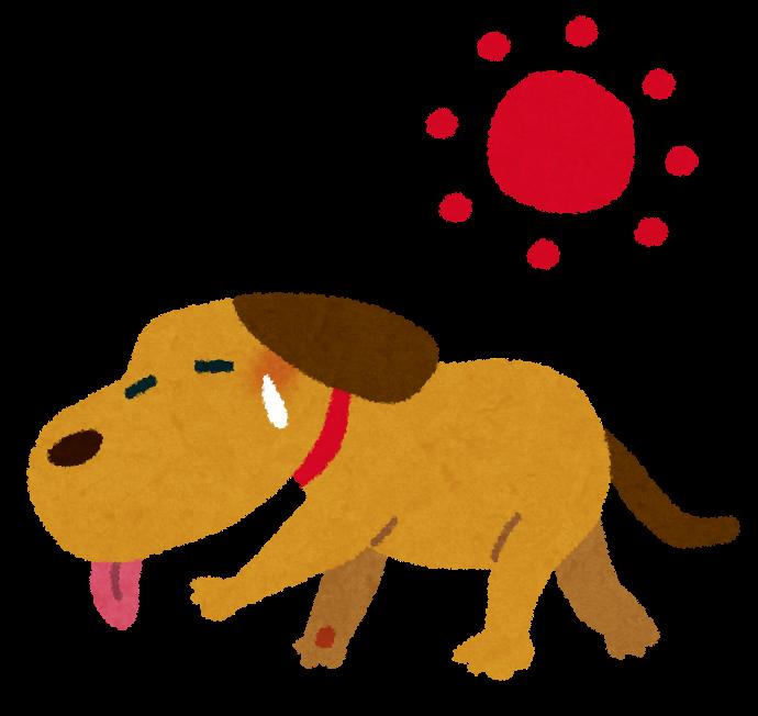 夏バテの犬のイラスト