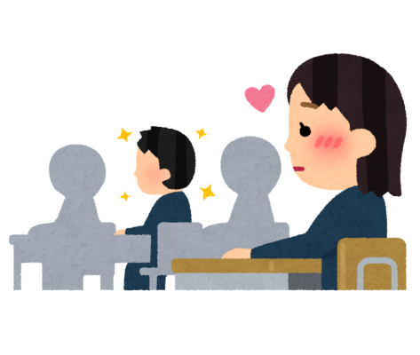 クラスメートに片思いをする女子生徒のイラスト