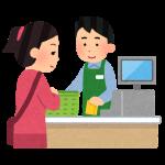 レジの会計のイラスト(男性店員)
